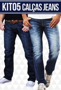 47dd4d1767 Kit com 05 Calças Jeans masculinas - Promoção