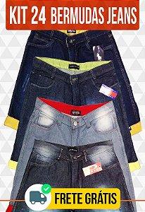 Kit com 24 Bermudas Jeans