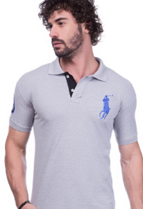Camisa Gola Polo Ralph Lauren Cinza