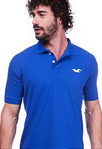 Camisa Gola Polo Hollister Azul