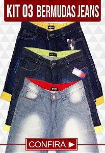 Kit com 03 Bermudas Jeans