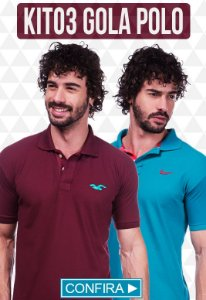Kit com 03 Camisas Polo Masculinas no Atacado