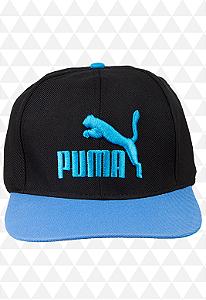 Boné Puma Preto e Azul - Aba Reta