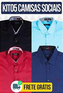 Kit com 05 Camisas Social masculinas - Varias marcas