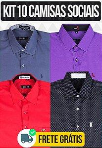 Kit com 10 Camisas Social masculinas - Varias marcas