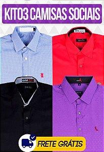 Kit com 03 Camisas Social masculinas - Varias marcas | Frete Grátis