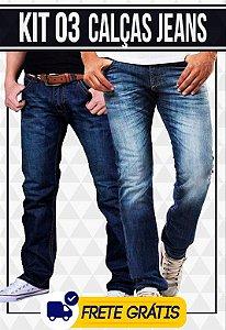 Kit com 03 Calças Jeans masculinas - Promoção | Frete Gráts