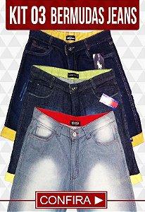 Kit com 03 Bermudas Jeans | Frete Grátis