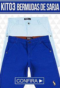 Kit com 03 Bermudas de Sarja masculina - marcas Famosas | Frete Grátis