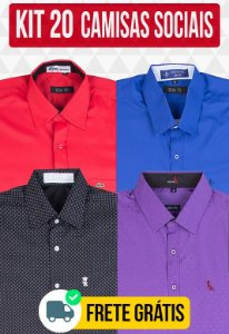 Kit com 20 Camisas Social masculinas - Varias marcas