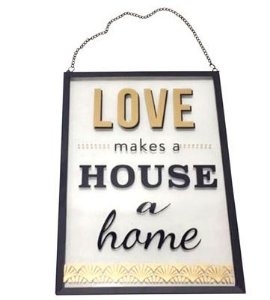 PLACA DECORATIVA DE VIDRO HOME