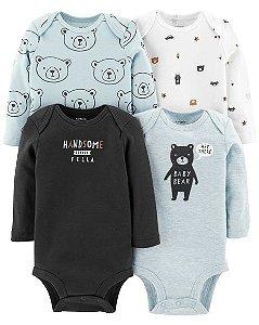 Kit  Body Baby Bear Manga Longa Lançamento