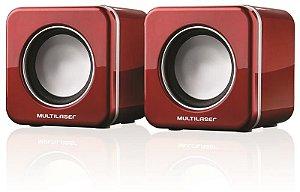 Caixa De Som 2.0 4w Rms Mini Red Piano Usb Multilaser