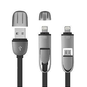 Cabo 2 em 1 USB com adaptador para Iphone Preto