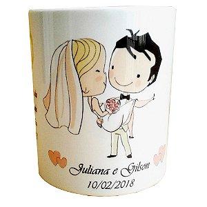 Caneca Lembrança de Casamento Pais dos Noivos com Dedicatória de Cerâmica 325 ml
