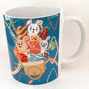 Caneca Decorada de Pascoa de Ceramica 325 ml
