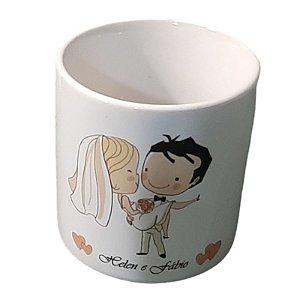 Mini Caneca Personalizada Para Casamento de Cerâmica Branca 165 ml café 6 OZ