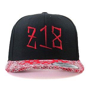 Boné Snapback Zero 18 Aba Curva Bandana Vermelho Flexfit