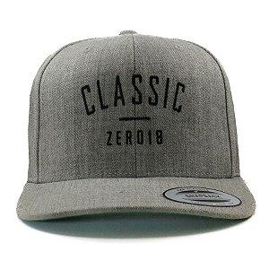Boné Zero18 Snapback Aba Curva Classic Cinza Mescla - Flexfit