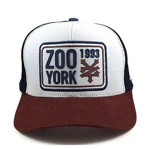 Boné Zoo York Aba Curva Snapback Tag Branco/marinho