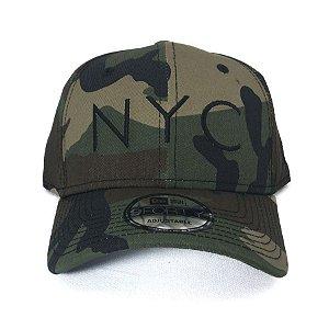 Boné New Era 940 Snapback Aba Curva NYC Woody Camo Camuflado