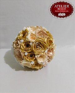 Buquê de Noiva - Rosas Colombianas - Dourado, Beje e Marfim