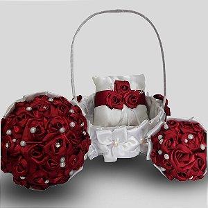 Kit Casamento - 4 Itens ( Buquê de Noiva, Buquê Dama, Cesta para Florista e Almofada Alianças