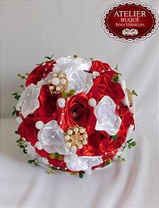 Buquê de Noiva - Vermelho e Branco