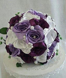 Buquê de Noiva - Rosas Colombianas - Roxo, Lilás e Branco