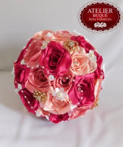 Buquê de Noiva - Rosas Colombianas  - Tons de Rosa