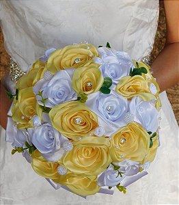 Buquê De Noiva - Rosas Colombianas - Amarelo E Branco