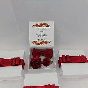Convite para Padrinhos - Caixa com Gravata Borboleta + Lapela + Corsage