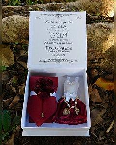 Caixa Convite Para Padrinhos ( Gravata + Lapela + Pulseira + Mini Vestido)