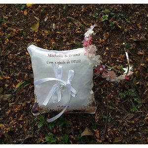 Almofada para alianças personalizada + Tiara de Flores