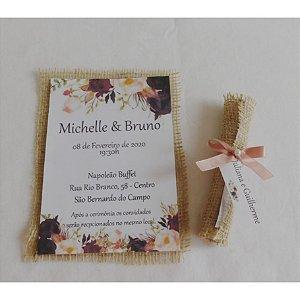 Convite de casamento rústico -Rolinhho