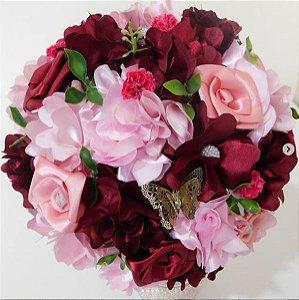 Buquê de Noiva Camélia Grande Marsala e Rosa