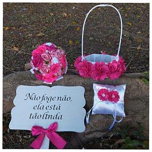 Kit Buquê de Noiva, Cesta, Porta Aliança, Placa- Pink