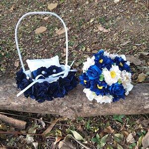 Kit Buquê de Noiva Azul Royal e Marfim , Cesta e Porta aliança Azul