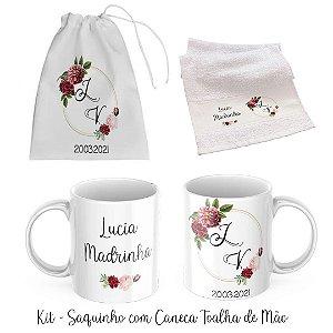 Kit Padrinhos De Casamento Saquinho Com Caneca e Toalha