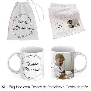 Kit Padrinhos de Batismo -  Saquinho Com Caneca e Toalha