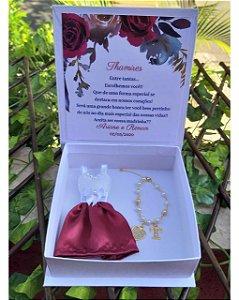 Caixa Convite Madrinha ( Mini Vestido e Pulseira com Inicial)