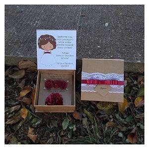 Caixa Convite Para Damas e Floristas  Arranjo de Cabelo + Corsage com Pulseira de Cetim