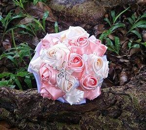 Buquê botão de rosa - Salmão e Marfim