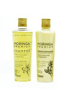 Kit Hidratação Moringa Premium Shampoo 250 mL Condicionador 250 mL Cabelos Secos e Danificados