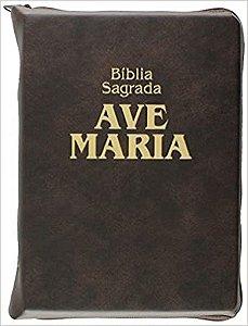 Bíblia Sagrada Ave Maria Marrom Zíper