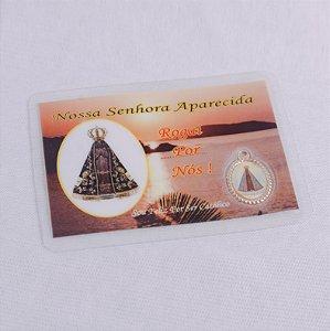 Cartão Plastificado Medalha com Oração Nossa Senhora Aparecida