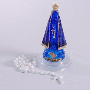 Imagem de Nossa Senhora Aparecida com terço - Plástico 12cm