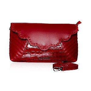 41d6100b8 Bolsa Transversal Vermelha de Couro Pelica de Cabra, Croco e Matelasse