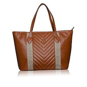 cf28bbde6 Bolsa Shopping Bag Marrom de Couro com Detalhe Gorgurão