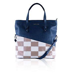 8e07e4481 Bolsa Dobrável de Couro Azul Marinho com Patchwork